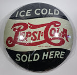 New 2018 Vintage Style Ice Cold Pepsi Cola Sold Here Soda Pop Beverage Round Metal Button Sign - Treasure Valley Antiques & Collectibles