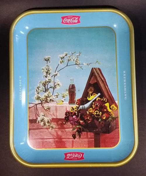 Rare 1957 Coca-Cola Coke Blue and Yellow Bird House Drink Serving Tray - Refreshing Delicious