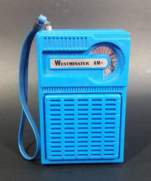 Vintage Westminster Handheld AM Transistor Pocket Radio Blue With Strap - Working - Treasure Valley Antiques & Collectibles