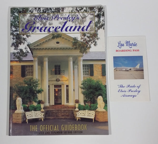 Elvis Presley's Graceland The Official Guidebook Updated and Expanded Second Edition Book w/ Lisa Marie Boarding Pass Slip - Treasure Valley Antiques & Collectibles