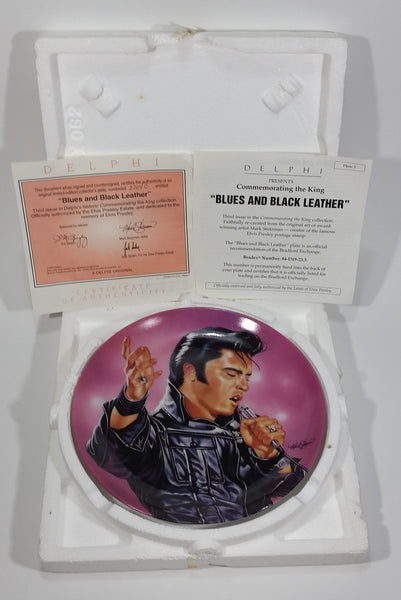 "1993 Delphi Elvis Presley Commemorating The King Limited Edition Collector Plate 3 ""Blues and Black Leather"""