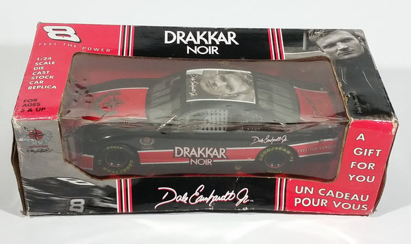 Collectible Drakkar Noir Dale Earnhardt Jr. Red Black Nascar 1/24 Scale Die Cast Toy Race Car Vehicle with Box - Treasure Valley Antiques & Collectibles