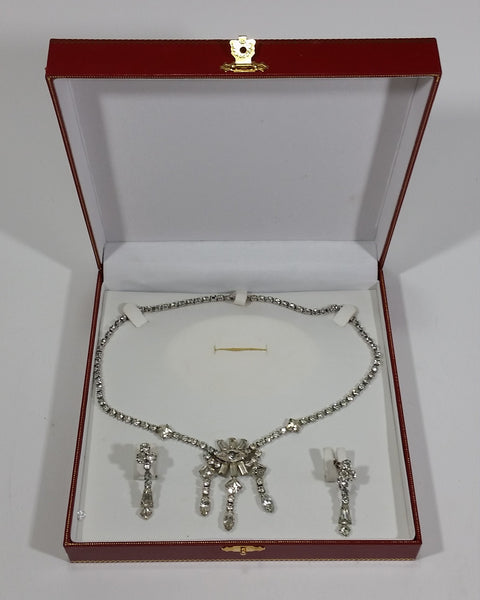 1930s Jay Flex Signed Rhinestone Necklace and Earrings Set with Box - Treasure Valley Antiques & Collectibles