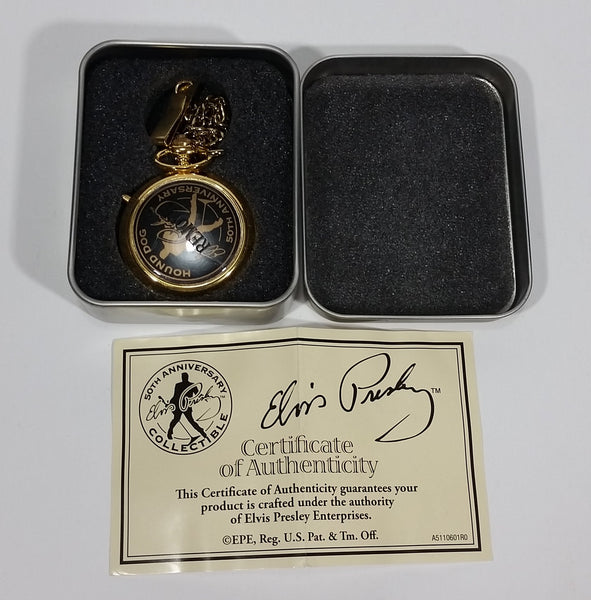 E.P.E. Elvis Presley 50th Anniversary Hound Dog Pocket Watch w/ Chain in Tin With Certificate of Authenticity