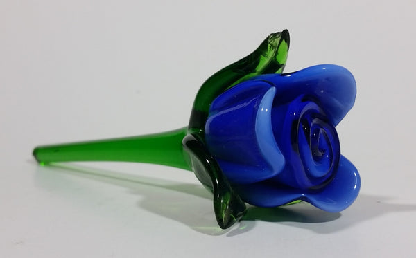 Hand Blown Art Glass Blue Rose Flower with Green Stem - Broken Stem, Leaf tips chipped - Treasure Valley Antiques & Collectibles
