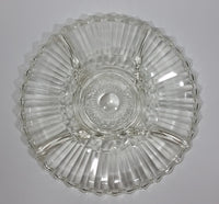 "12"" Round Crystal Sectioned Vegetable and Dip Serving Platter - Treasure Valley Antiques & Collectibles"