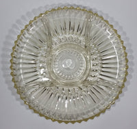 "12"" Round Yellow Iridescent Crystal Sectioned Vegetable and Dip Serving Platter - Treasure Valley Antiques & Collectibles"