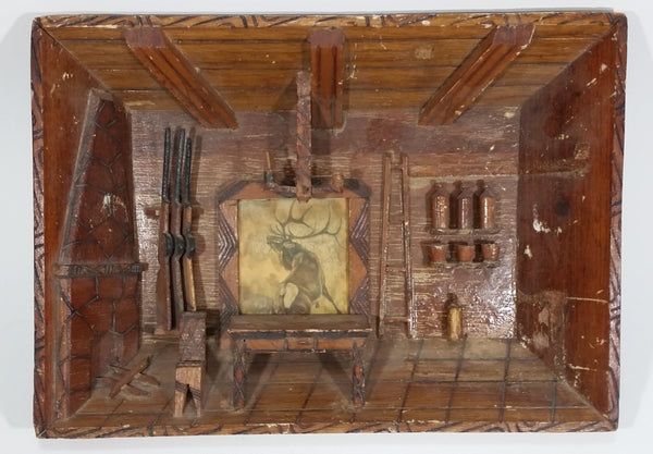 Antique Handmade Wooden Carved Folk Art Hunting Cabin Deer Guns Diorama Wall Display 3D Shadow Box