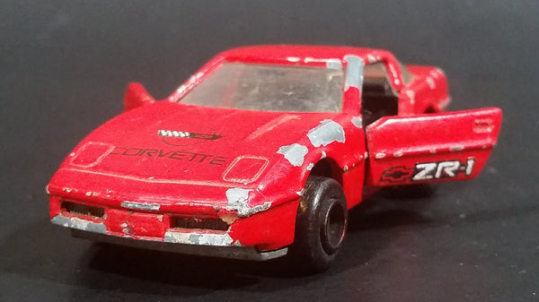 Vintage Majorette Chevrolet Corvette ZR-1 No. 215 & 268 Red Die Cast Toy Car Vehicle Opening Doors 1/57 Scale Made in France - Treasure Valley Antiques & Collectibles