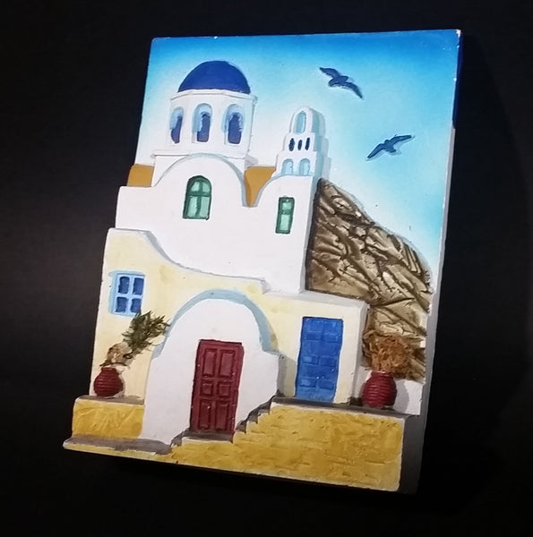 Vintage Mediterranean Style House Casa White and Blue with Birds Chalkware Wall Decor with Little Plants - Treasure Valley Antiques & Collectibles