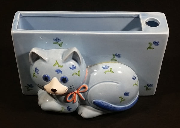 Vintage Otagiri Japan Light Blue Cat Kitten Porcelain Pen Pencil Paper Notepad Memo Holder - Treasure Valley Antiques & Collectibles