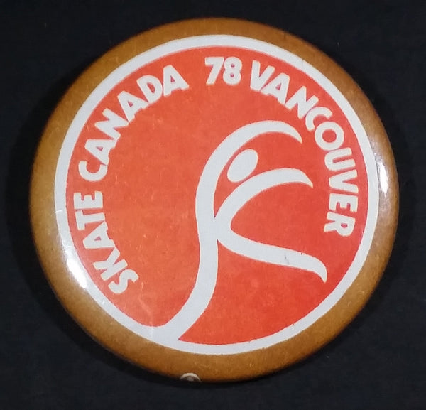 Vintage Skate Canada 1978 Vancouver Ice Figure Skating Round Collectible Button Pin - Treasure Valley Antiques & Collectibles