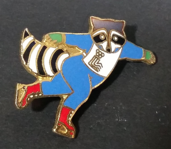 Collectible 1980 Roni Raccoon Character Lake Placid Winter Olympics Ice Figure Skating Enamel Pin - Treasure Valley Antiques & Collectibles