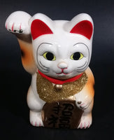 Vintage Chinese Good Luck Cat Kitty Waving Ceramic Figurine White with Gold Vest and Sign - Treasure Valley Antiques & Collectibles