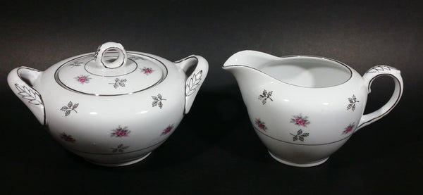 1970s Japan Rosette in Pink Floral with Silver Leaves and Trim Creamer and Sugar Bowl w/ Lid Porcelain Set - Treasure Valley Antiques & Collectibles