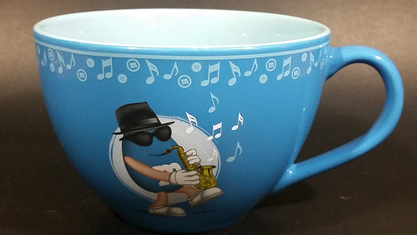2007 Mars M & M's World Jumbo Oversized Blue Ceramic Beverage Soup Candy 16 oz. Mug Featuring a Saxophone Playing M & M - Treasure Valley Antiques & Collectibles