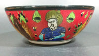 "Vintage Hand Painted Turkish Red Ceramic 5"" Bowl of Horseman in the Desert - Treasure Valley Antiques & Collectibles"