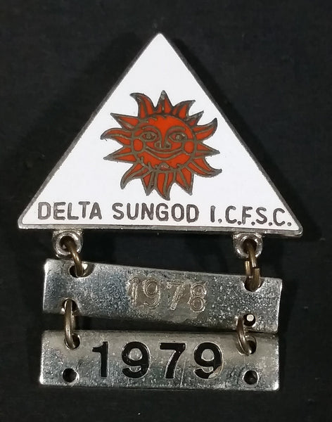 1978-79 Delta Sungod I.C.F.S.C. Triangle Shaped Ice Figure Skating Pin - Treasure Valley Antiques & Collectibles