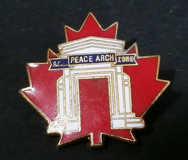 Royal Canadian Legion R.C.L Peace Arch Zone Red Maple Leaf Shaped Enamel Lapel Pin Washington British Columbia Border - Treasure Valley Antiques & Collectibles