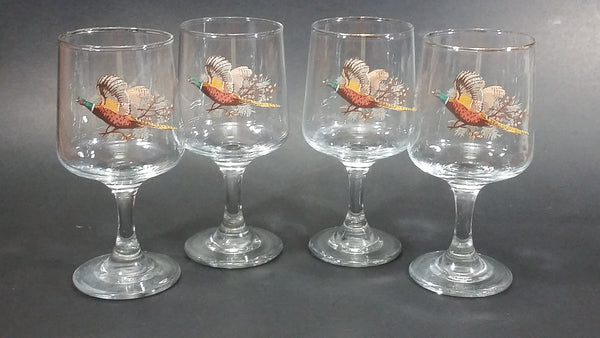 "Set of 4 Vintage Libbey Pheasant Hunting Game Bird Rimmed 5"" Wine Glasses"