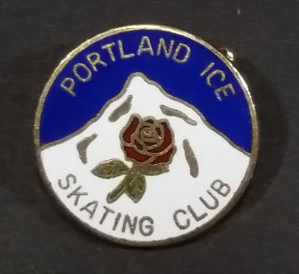 Portland Ice Skating Club Mountain and Rose Themed Round Enamel Pin - Treasure Valley Antiques & Collectibles