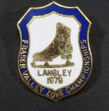Vintage 1979 Langley, B.C. Fraser Valley Zone Championships Ice Figure Skating Enamel Crest Shaped Pin - Treasure Valley Antiques & Collectibles