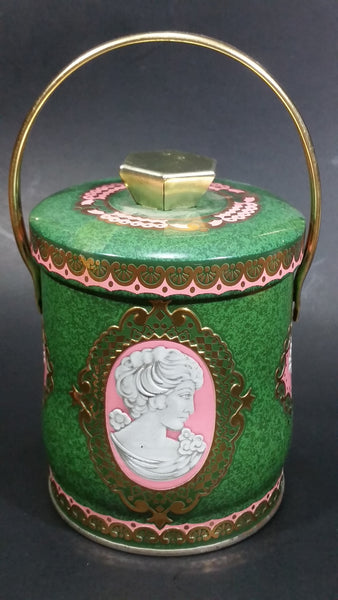 Vintage Murray Allen Imported Quality Confections Enchantress Green Pink Cameo Style Tin Container with Handle