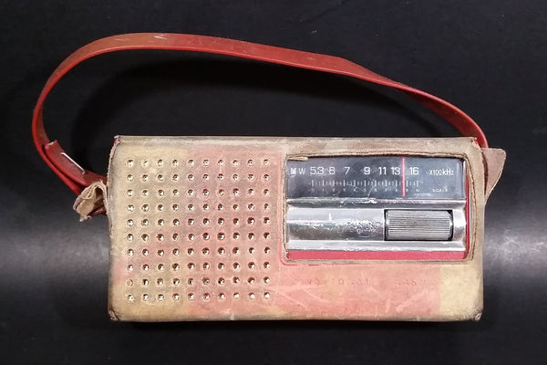 Vintage 1971 National Panasonic Matsushita Electric Red Transistor R-138 Radio in Original Leather Case Working - Treasure Valley Antiques & Collectibles