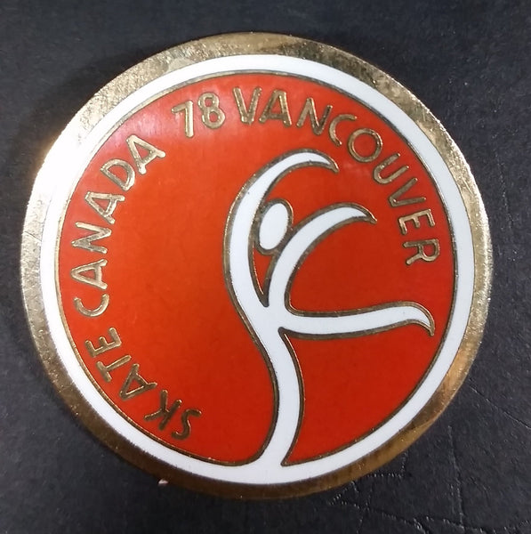 Vintage Skate Canada 1978 Vancouver Ice Figure Skating Round Collectible Enamel Pin - Treasure Valley Antiques & Collectibles