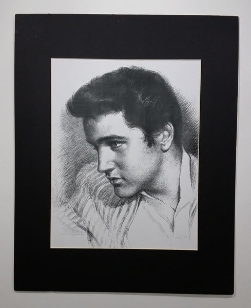 "Elvis Presley Black and White Hand Drawn Charcoal 16"" x 20"" Portrait - Treasure Valley Antiques & Collectibles"