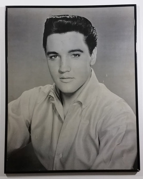 "Vintage Elvis Presley 20"" x 16"" Black & White Photograph Framed Hard Cardboard - Treasure Valley Antiques & Collectibles"