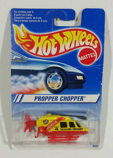 1997 Hot Wheels Rescue Squad Propper Chopper Stinger Yellow Red Die Cast Toy Helicopter - New in Package - Treasure Valley Antiques & Collectibles