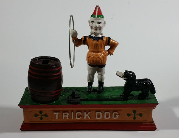 Vintage Collectible Trick Dog Circus Clown Cast Iron Mechanical Coin Bank