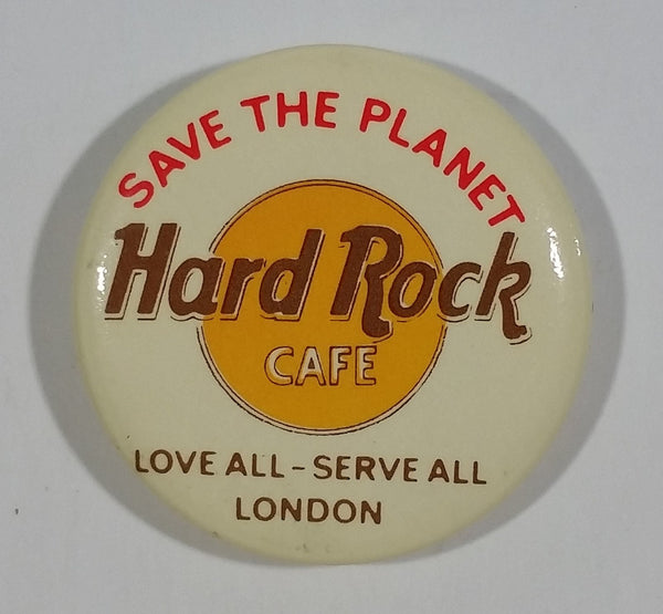 Vintage Hard Rock Cafe Save The Planet Love All - Serve All London Round Collectible Souvenir Pin - Treasure Valley Antiques & Collectibles