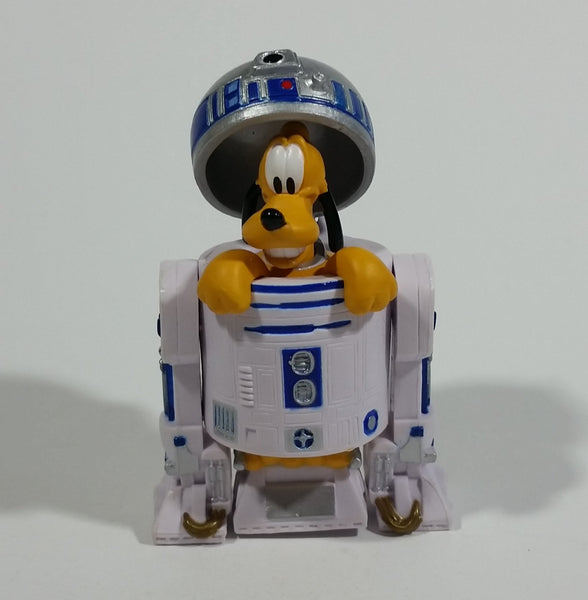 "Rare Star Wars Disney Pluto Dog Cartoon Character in R2D2 Robot  3"" Toy Figure Collectible"