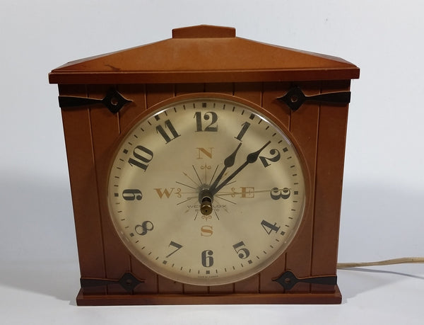 Vintage Westclox Country Time Barn Door Brown Electric Plug In Wall Clock - Working - Treasure Valley Antiques & Collectibles