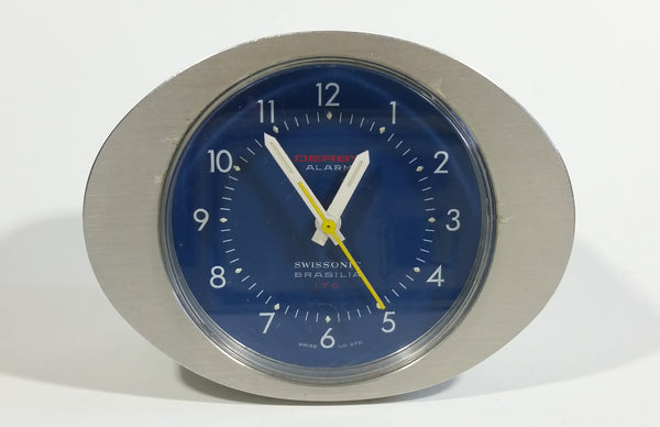 Vintage Derby Swissonic Brasilia 170 Alarm Clock with Blue Face - Working