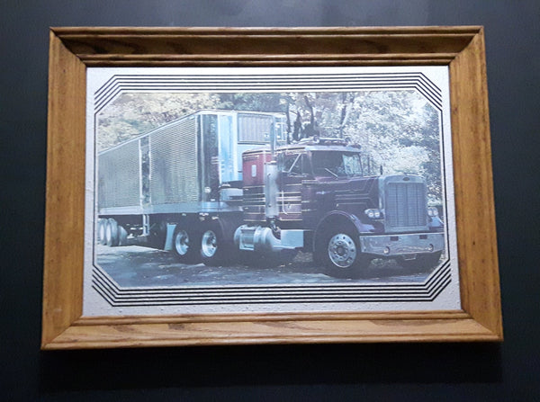 Rare Stamford Art Peterbilt Semi Tractor Truck with Thermo King Trailer Wood Framed Advertising Mirror Collectible