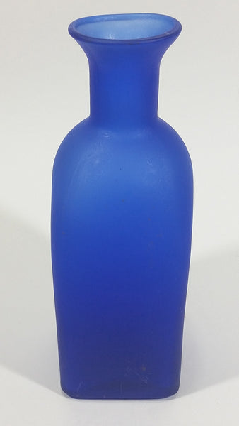 "Beautiful 7 1/2"" Tall Square Frosted Cobalt Blue Glass Cork Top Bottle - Treasure Valley Antiques & Collectibles"