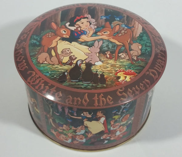 Vintage Walt Disney Productions Snow White and The Seven Dwarfs Candy Jar Mix Round Collectible Tin Container - Treasure Valley Antiques & Collectibles