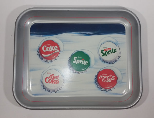 "1986 Enjoy Coca-Cola Diet Coke Sprite Soda Pop ""Snow Cap Tray"" Silver Metal Beverage Serving Tray - Treasure Valley Antiques & Collectibles"