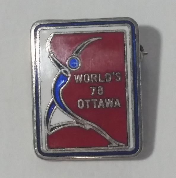 Vintage 1978 World Figure Skating Championships Ottawa, Canada Small Enamel Pin Sports Collectible - Treasure Valley Antiques & Collectibles