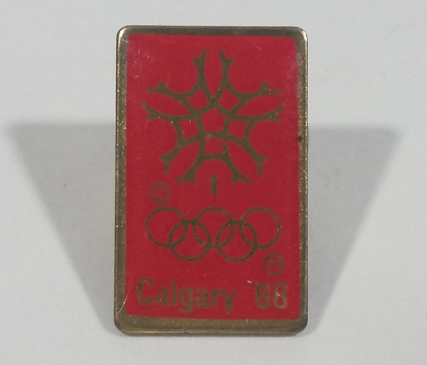 1988 Winter Olympics Calgary, Alberta Canada Small Red Gold Enamel Lapel Pin Sports Collectible - Treasure Valley Antiques & Collectibles