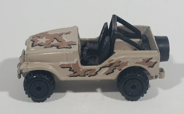 1992 Hot Wheels Action Command Team Roll Patrol Jeep CJ Grayish Tan Army Brown Die Cast Toy Car Vehicle