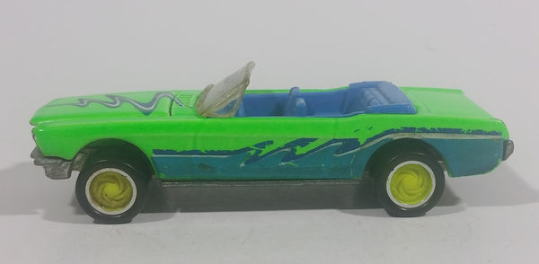 1990 Hot Wheels California Customs '65 Ford Mustang Convertible Fluorescent Green Die Cast Toy Car Vehicle - Opening Hood - Treasure Valley Antiques & Collectibles