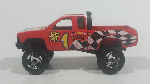 1997 Hot Wheels Racing World Nissan Hardbody Truck Red Die Cast Toy Car Vehicle - Treasure Valley Antiques & Collectibles