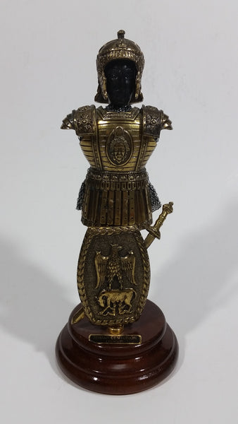 Vintage Decorative Roman Centurion I Century Metal Soldier Armour Statue on Wood Base Made in Spain