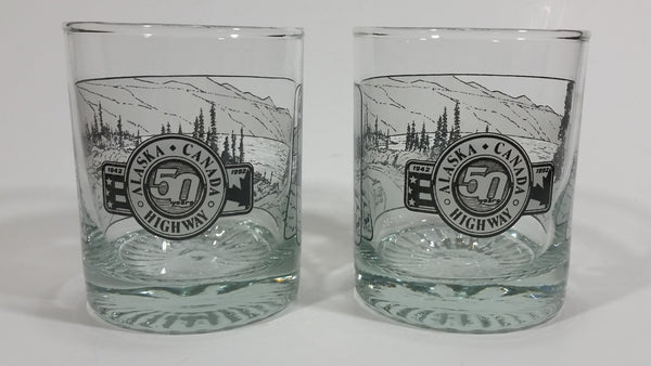 Set of 2 1942-1992 Alaska Canada Highway 50th Anniversary Scotch Whiskey Glass Cups