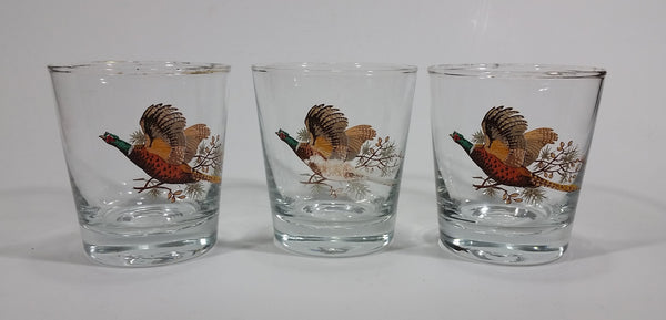 "Set of 3 Vintage Libbey Pheasant Hunting Game Bird Gold Rimmed 5"" Rocks Glasses - Treasure Valley Antiques & Collectibles"