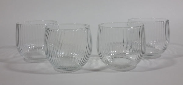 "Set of 4 Ribbed Small Clear 2 3/4"" Ribbed Drinking Glasses"